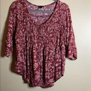 Torrid size 0 red/pink cute top 3/4 sleeves